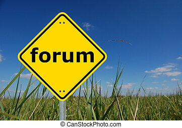 forum on roadsign showing concept for internet www or web...