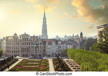 Monts des Arts in Brussels, Belgium - Sunset on Monts des...