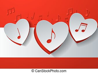 Hearts Cut from White Paper on Red Music Background