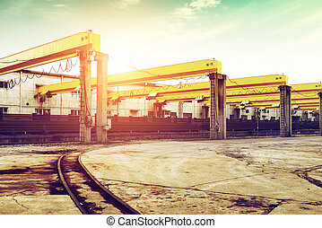 Wharf Shed - Pier bridge crane and cargo handling, cargo...