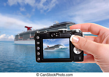 Tropical ship photography - Woman takes snapshot picture of...