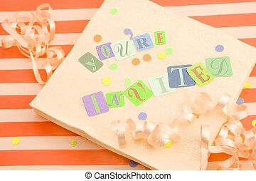 you\'re invited - cut out letters spelling you\'re invited...