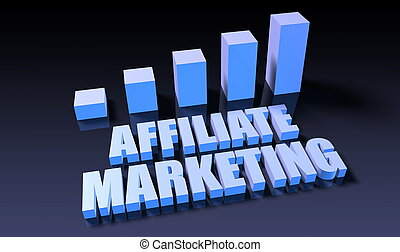 Affiliate marketing graph chart in 3d on blue and black