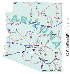 Arizona State Interstate Map - Arizona state road map with...