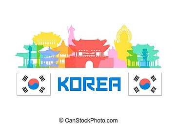 Korea Travel Landmarks Vector and Illustration