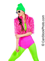 flashy style - Trendy girl posing in vivid colourful clothes...