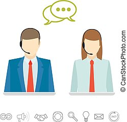 Call center avatars - Male and female wearing headsets call...