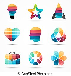Logo templates set. Modern vector abstract circle creative...