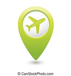 Map pointer with airplane icon