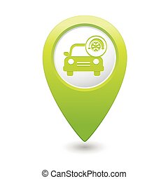 Car service Car with air conditioner icon on green map...