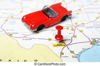 San Antonio Texas USA map cabrio - Close up of San Antonio...