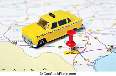 San Antonio Texas USA map taxi - Close up of San Antonio...