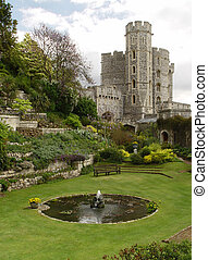 Garden in the Windsor Castle. Edward tower - Garden in the...
