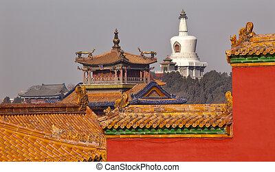 Beihai Buddhist Stupa Yellow Roofs Dragon Pavilion Gugong,...