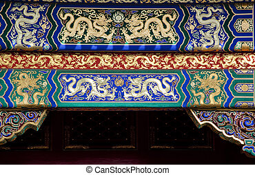Golden Dragon Decorations Gugong, Forbidden City \'Emperor\'s Palace Built in the 1600s in the Ming Dynasty