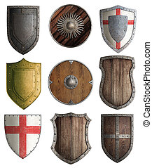 medieval knight shields set isolated