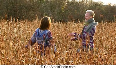 Beautiful Couple Hugging On The Field - SLOW MOTION Young...
