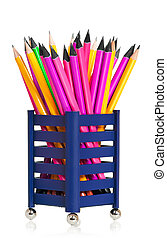 Bright pencils - Bright wooden pencils isolated on white...