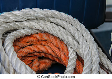 Marine rope lying on the deck of a ship