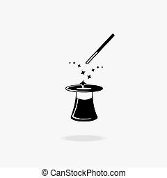 Magic wand and hat icon. Show and entertainment, illusion...