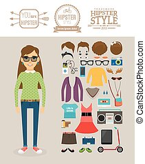Hipster girl elements Clothes, hairstyles and logos -...