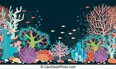 Vector underwater scene. Ocean and coral, reef and water,...