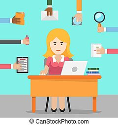 Secretary. Busy woman for office work. Female cartoon,...