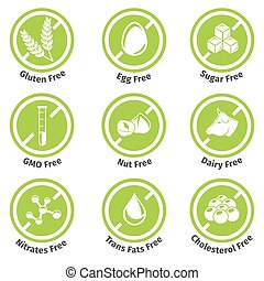 Allergen free products stickers. Eggfree and dairyfree,...