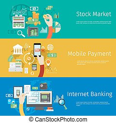 Set of payment concept web banners. Marketing technology,...