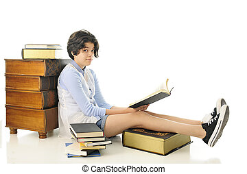 Reading, Looking UP - At attractive young book-loving teen...