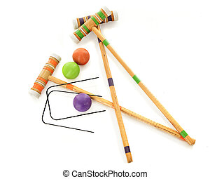 Lets Play Croquet - Overhead view of three wooden croquet...