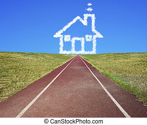 House shape clouds in blue sky with running track