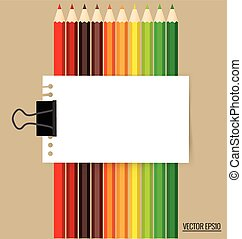 Paper note with color pencils background, vector illustration.