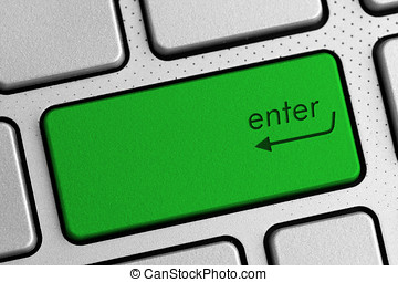 secure internet concept - green enter keyboard button