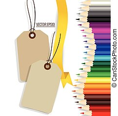 Sale Coupon, voucher, tag with color pencils background, vector illustration.