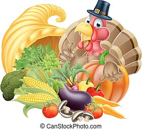 Thanksgiving Turkey and Cornucopia - Thanksgiving cartoon...