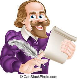 Cartoon Shakespeare - Cartoon of William Shakespeare holding...
