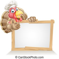 Chef turkey sign - A Christmas or Thanksgiving turkey...