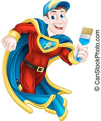 Superhero Decorator - Illustration of a cartoon decorator or...