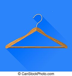 Coat Hanger Icon Isolated on Blue Background. Long Shadow