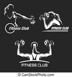 Fitness Emblem Set - Fitness Club logo or emblem set....