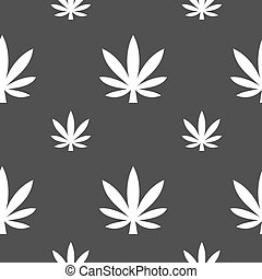 Cannabis leaf icon sign Seamless pattern on a gray...