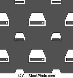 CD-ROM icon sign Seamless pattern on a gray background...