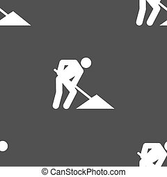 repair of road, construction work icon sign. Seamless pattern on a gray background. Vector