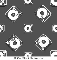 Gramophone, vinyl icon sign. Seamless pattern on a gray...