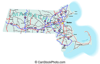 Massachusetts State Interstate Map - Massachusetts state...
