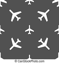 airplane icon sign. Seamless pattern on a gray background. Vector