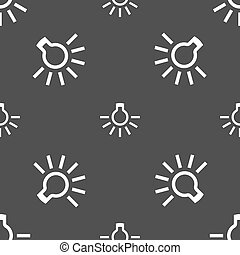 light bulb icon sign Seamless pattern on a gray background...