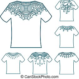 Set of White blank t-shirt with doodle ornament.