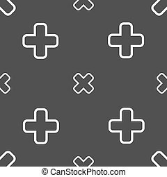 Cancel icon sign Seamless pattern on a gray background...